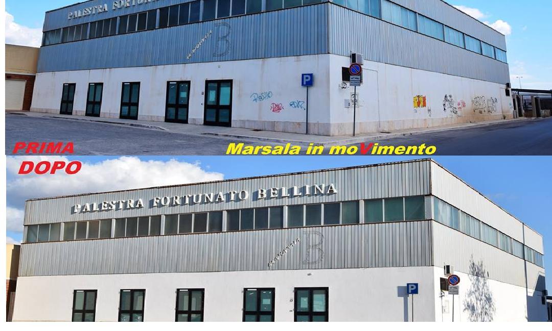 Altra lodevole iniziativa  del Meetup Marsala in moVimento. Ripulite e tinteggiate le mura esterne della Palestra Fortunato Bellina